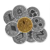 Set of gold and silver crypto currencies Royalty Free Stock Image