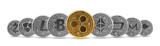 Set of gold and silver crypto currencies Royalty Free Stock Photos