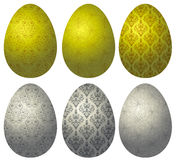 Set of gold and silver Easter eggs 2 Stock Photo
