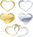 Set of gold and silver heart Royalty Free Stock Images