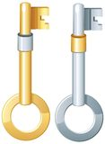 Set of gold and silver keys vector icon Royalty Free Stock Photography