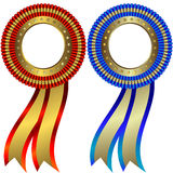 Set of gold and silver medals. With ribbons on white background stock illustration
