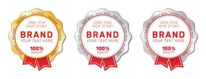 Set of gold, silver and platinum badges. stock illustration