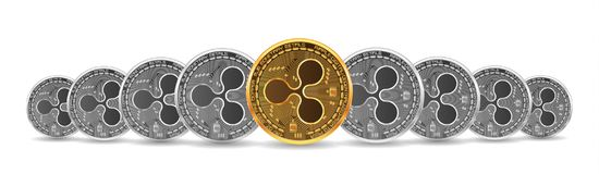 Set of gold and silver ripple coins. Set of mixed gold and silver crypto currency coins with ripple symbol on obverse isolated on white background. Vector Stock Photography