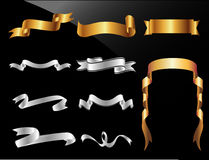 Set Of Gold And Silver Vector ribbons Stock Photos