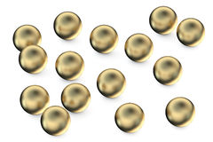Set of gold spheres Stock Photo