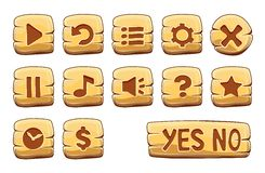 Set of gold square buttons. Vector game icons vector illustration