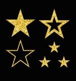 Set of gold star on black vector illustration