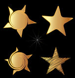 Set of gold stars logo Stock Image