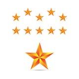 Set of gold stars. Vector. Royalty Free Stock Photos