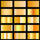 Set of gold texture gradients template for your design. Vector, isolated Stock Image