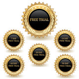 Set Of Gold Trial Badges Royalty Free Stock Photography