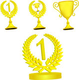 Set of gold trophy. Set of gold trophies on a white background Stock Photos