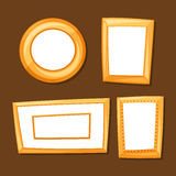 Set of gold various frames on brown background Royalty Free Stock Photos