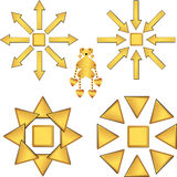 Set of gold vector drawings. Without background support Stock Photo