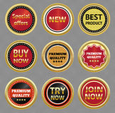 Set of gold vector labels. Stock Image