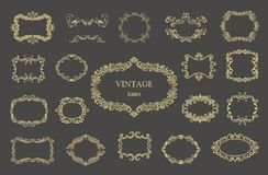 Set of gold vintage floral frames and monograms. Vector decorative borders Royalty Free Stock Photos