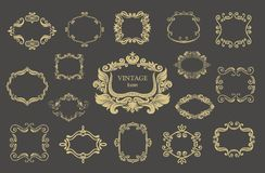 Set of gold vintage floral frames and monograms. Vector decorative borders Stock Photo