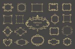 Set of gold vintage floral frames and monograms. Vector decorative borders Stock Image