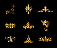 Set of Gold Vintage Floral Ornament Background Vector Stock Photo