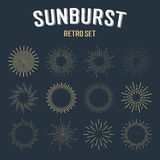 Set of gold vintage linear sunbursts. Vector illustration Royalty Free Stock Photos