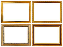 Set gold vintage wooden photo frame isolated on white. Saved wit. Set gold vintage wooden photo frame isolated on white background. Saved with clipping path Stock Images