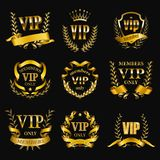 Set of gold vip monograms for graphic design on black background. stock photo