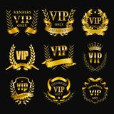 Set of gold vip monograms for graphic design on black background. stock image