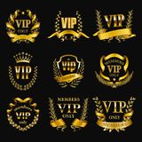 Set of gold vip monograms for graphic design on black background. royalty free stock photos