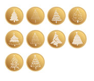 Set of gold web buttons vector design for Christmas Trees Royalty Free Stock Images
