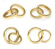 Set of gold wedding ring Stock Photos