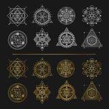 Set of gold and white sacred symbols on black background . Vecto Stock Photos