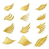 Set of gold wings on white background vector illustration
