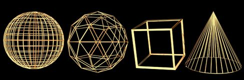 Set of gold wireframe 3D objects isolated in black background. Set of gold wireframe 3D objects isolated in black background, sphere, icosphere, cube and a cone stock illustration