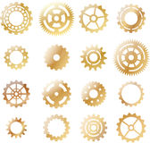 Set: gold yellow cogwheel Royalty Free Stock Photos