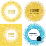 Set of 4 golden abstract backgrounds. Set of 4 abstract backgrounds for business presentations circle shape. Gold dots, glitter, round template with empty space Stock Image