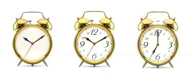 Set of 4 golden alarm clocks. Set of 3 alarm clocks isolated on white background. Vintage style golden clock with clean face, numbers, ringing clock. Graphic Stock Photography