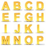 Set of golden alphabet letters from A to P over white royalty free illustration