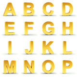 Set of golden alphabet from A to P over white Royalty Free Stock Photos