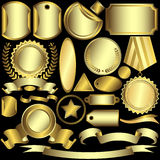Set Golden And Silvery Labels (vector) Royalty Free Stock Image