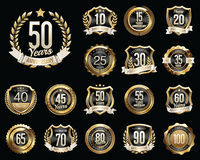 Set of Golden Anniversary Badges. Set of Golden Anniversary Signs. Royalty Free Stock Photos