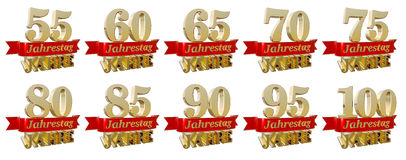 Set of golden anniversary signs, symbols. Translated from the German - Anniversary of  fifty five, sixty, sixty five, seventy, seventy five, eighty, eighty Stock Images
