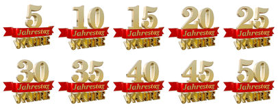 Set of golden anniversary signs, symbols. Translated from the German - Anniversary of  five, ten, fifteen, twenty, twenty five, thirty, thirty five, forty Stock Images