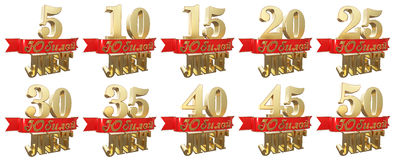 Set of golden anniversary signs, symbols. Translation from Russian - Years, Anniversary. 3D illustration Stock Image