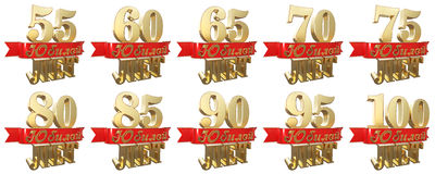 Set of golden anniversary signs, symbols. Translation from Russian - Years, Anniversary. 3D illustration Royalty Free Stock Photos