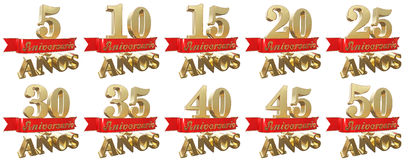 Set of golden anniversary signs, symbols. Translation from Spanish - Years, Anniversary. 3D illustration Royalty Free Stock Photos