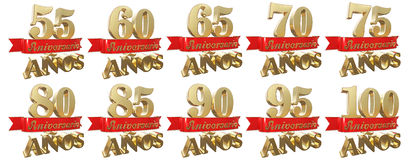 Set of golden anniversary signs, symbols. Translation from Spanish - Years, Anniversary. 3D illustration Stock Image
