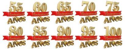 Set of golden anniversary signs, symbols. Translation from Spanish - Years, Anniversary Stock Image