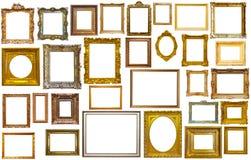 Set of golden art frames Stock Images