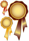 Set golden awards with ribbons Royalty Free Stock Photography